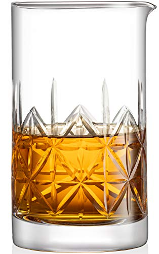 Crystal Cocktail Mixing Glass bartender Beaker // 24oz Cocktail Stirring Glass with Thick Weighted Bottom // Professional Bar Beaker Mixing Glass for an Awesome Mixing Experience