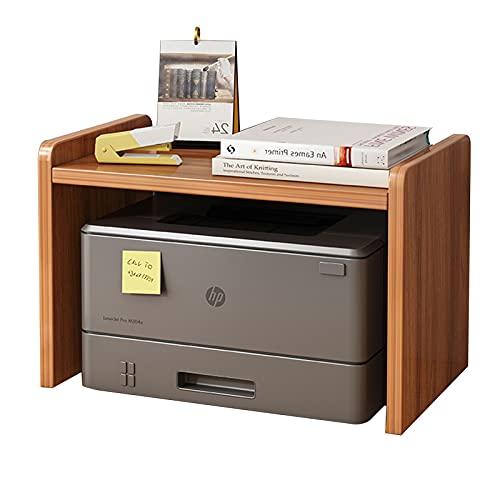 JIASHIQI Soporte para Impresora, Organizador de Escritorio de Madera, Bandeja de 2 Niveles, Estante de Almacenamiento Multiusos para el hogar y la Oficina (Color : Mahogany)
