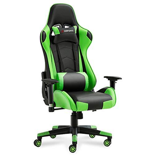 JL Comfurni Gaming Chair Ergonomic Swivel Office PC Desk Chair Computer Chairs Heavy Duty Reclining High Back with Lumbar Cushion (Black&Green)