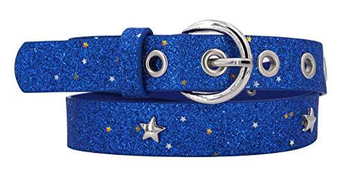EANAGO Glitzer-Kindergürtel 'Superstar blau' für Mädchen (Kindergarten- und Grundschulkinder, 5-10 Jahre, Hüftumfang 57-72 cm), Gürtelmaß 65 cm, mit Loch- und Sternnieten