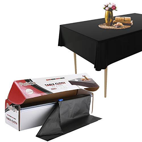 Puricon Disposable Plastic Tablecloth Roll, Heavy Duty Premium Durable Table Cover with Self Cutter for Rectangle Square Round Oval Tables –Black