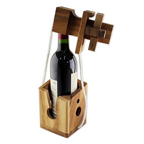 NOVICA Brown Handmade Raintree Wood Bottle Puzzle, 'Don'T Break It'