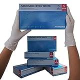 ARNOMED Guantes desechables de nitrilo S, blancos, sin látex, 100 unidades/caja, guantes desechables, sin polvo, guantes de nitrilo, disponibles en talla S, M, L y XL