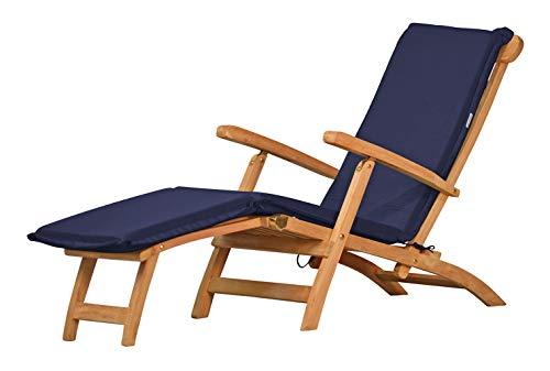 Auflage für Deckchair, blau, dralon, waschbar ✓ 2X geknickt ✓ Made in Germany ✓