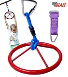 Trailblaze Premium Hanging Wheel for Ninja Warrior Slackline Hanging Obstacle Course for Kids - Jungle Gym Monkey Wheel Easily Attaches to Ninjaline - Perfect Addition to Your Outdoor Play Equipment