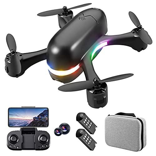 Mini Drone con cámara 4K FHD de 120º gran angular Quadrirotor Posicionamiento de Flujo Óptico Luces LED Moda Sin Cabeza Elicopter Teledirigido Juguete Regalo para Niño Y Desagüe (2 Baterías)