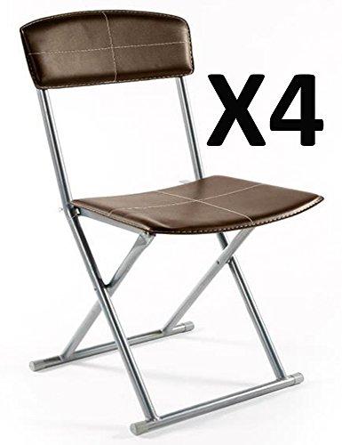 PEGANE Lot de 4 chaises Pliantes PVC Polyuréthane en Marron