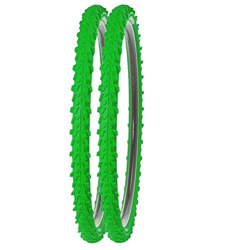 P4B   2X 24 Zoll MTB Fahrrad Reifen   Sehr guter Grip in Allen Situationen   Hohe Laufruhe   24 x 1.95   50-507   Für Mountainbike   24 Zoll Fahrrad Mantel in Grün