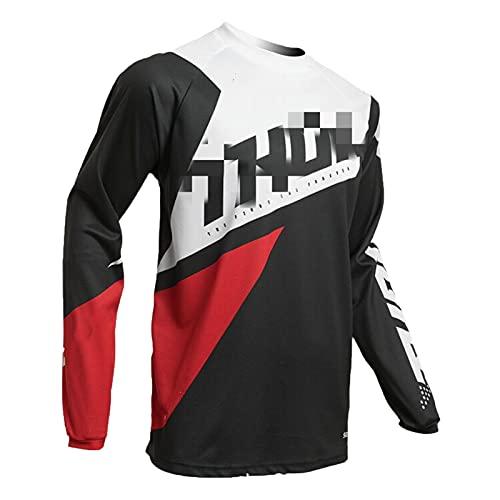 Hombres Ciclismo Jersey, Larga Manga Camiseta Jersey MTB Cómoda, Transpirable y de Secado Rápido, Adecuada para Correr y Hacer Ejercicio (TYP-1,S)