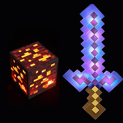 JYMEI Espada Luminosa Que Cambia de Color,Espada de Diamantes Lámpara de minero Recargable por USB,Luz de antorcha,Casco de cartón,Adecuado para Regalos para Niños de 4 a 6 Años (8 Combinacion