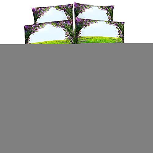 EsyDream Blue Sky Purple Lavender Princess Bedding Bedclothes Sets Beautiful Scenery Purple Lavender Floral Wedding Duvet Bed Sheet No Comforter,Q'ty 3PC Queen Color 7