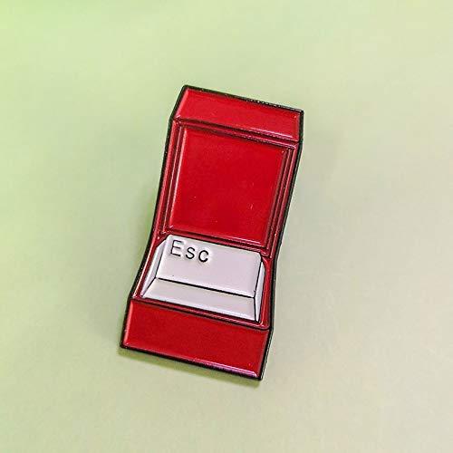 QISKAII ESC Emaille Pin Lustige Meme Tastatur Escape Need My Space Broschen Emaille Pins Jeans Hemdtasche Für Freunde Abzeichen Zubehör