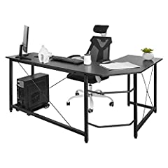 [L-shaped Corner Design] - The L-shaped corner design of the computer desk has wide desktop and very space saving, you will haveplenty of surface space for writing, computer work and other home officeactivities. [Simple Design & Modern Style] - The d...