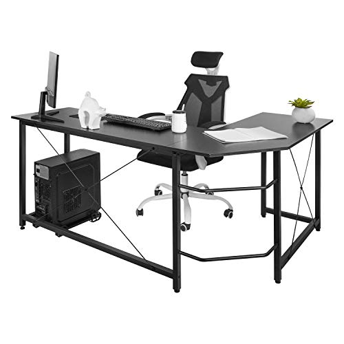 AuAg Modern L-Shaped Home Office Desk 66 inch Sturdy Computer PC...