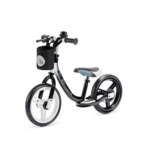 Kinderkraft Laufrad SPACE, Lernlaufrad, Kinderlaufrad, Lauflernrad für Kinder, Baby Kinderrad mit Zubehör, Klingel, Tasche für Kleinigkeiten, Handbremse, Fußstütze, 12 Zoll Räder, ab 2 Jahre, Schwarz
