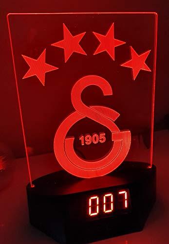 Galatasaray Istanbul Led Tischlampe Neonschild Schild 3D Neon mit Uhr und Wecker USA Schnelle Lieferung