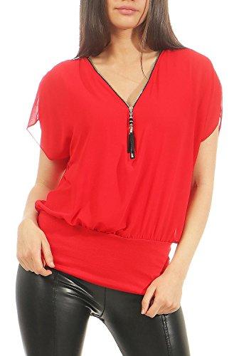 Malito Damen Kurzarm Bluse im Fledermaus Look   Tunika mit Zipper   T-Shirt mit breitem Bund   Shirt - elegant 6298 (rot)