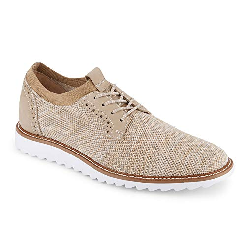 Dockers Mens Einstein Knit/Leather Smart Series Dress Casual Oxford Shoe with NeverWet, Oatmeal, 13 M