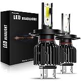 PULILANG H4 LED ヘッドライト LED フォグランプ ハイビーム ロービーム 純正と同じサイズ COB 60W 12000LM 6000K 一体型 12V 24V 兼用 IP65 防水 日本語説明書付き 一年保証