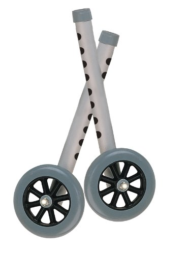 """Drive Medical 5"""" Walker Wheels with Two Sets of Rear Glides for Use with Universal Walker, Gray"""