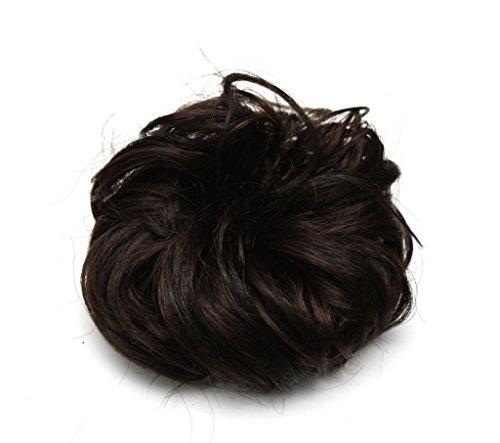 Ponyholder # 4 Chouchou Chouchou Bun Updo Postiche ruban Queue de cheval Extensions de cheveux bouclés Medium Brown