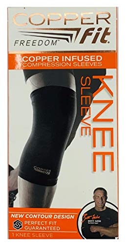 Copper Fit Freedom Knee Sleeve 2 Pack, Copper Infused Compression Sleeve with Contour Design, 2 Knee Sleeve, As Seen on TV (Medium)