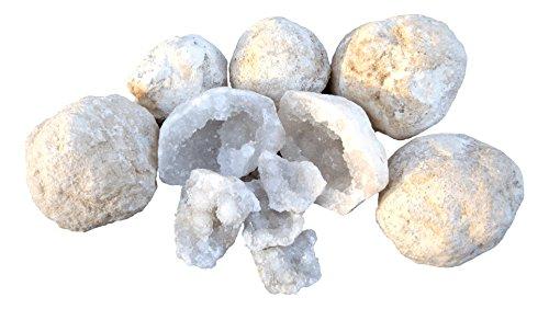Rokkolino Geschlossene Quarz Geoden zum selber öffnen | Set mit 7 Knackgeoden Glücksgeoden mit Infoblatt