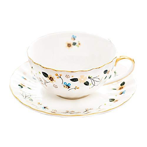 Porcelana Taza de té y Platillo Conjunto Taza de Café Flor es de mariposa(1taza y 1placa)