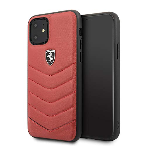 Ferrari Phone Case for iPhone 11 Genuine Quilted Leather Hard Case Off Tracked Colletion Red | Easy Snap-On | Drop Protection | Officially Licensed