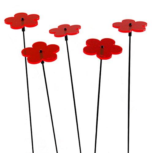 """SUNPLAY """"Sonnenfänger-Blumen in Rot, 5 Stück zu je 5 cm Durchmesser im Set + 35 cm Schwingstäbe"""