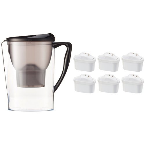 AmazonBasics - Jarra con filtro de agua de 2,3 l y paquete de 6 cartuchos de filtro de agua + 1 gratis (paquete de 7 en total), se adapta a las jarras BRITA Maxtra (excepto Maxtra+)
