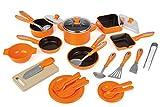 Juego de ollas y sartenes (28 piezas), color naranja