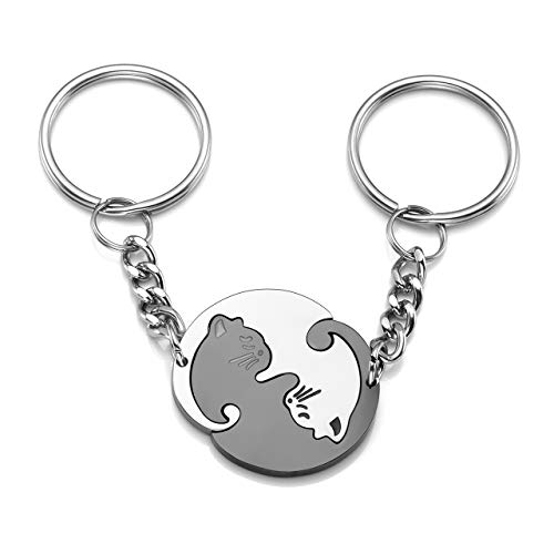 JSDDE Schmuck Edelstahl Pärchen Schlüsselanhänger mit Katze Anhänger Tai Chi Yin und Yang Puzzle Schlüsselringe (Weiß&Schwarz Schlüsselanhänger-ohne Gravur)
