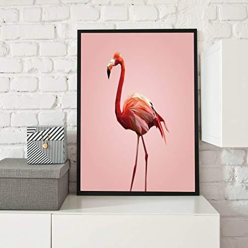 Encadré Affiche Rose Flamingo couleurs Décoration moderne Art Déco Stylisation de la salle Décoration murale