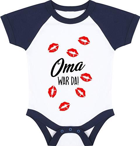 Kleckerliese Baby Body Baseball Kurzarm Sprüche Jungen Mädchen Aufdruck Motiv Oma war da Kuss Küsse Küsschen, WhiteNavy, 6-12 Monate