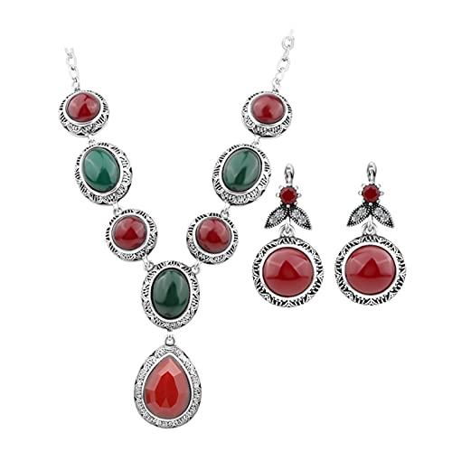 Hot Bohemia Red Opal Stone Jewelry Conjuntos Geométrico Collar para Mujeres Plata Color Cadena de clavícula Lujo Partido Regalo de cristal ( Main Stone Color : Red , Metal color : Silver Plated )