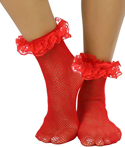 ToBeInStyle Womens Retro Inspired Fishnet Anklet Socks w/Ruffle Lace Trim - Red
