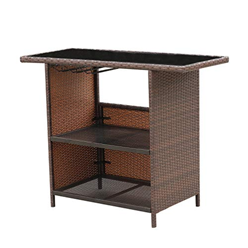 Outdoor PE Wicker Bar Counter Table with 2 Steel Shelves Design and 3 Set of Rails Patio Brown Rattan Furniture