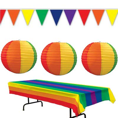 LGBTQ Gay Pride Rainbow Table Cover Lanterns Pennant Banner Birthday Party Decorations Supplies Colorful Celebration Event
