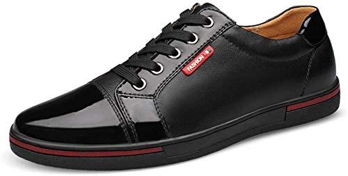 Zapatos de Hombre Ocio & Negocios Moda Zapatillas De Deporte for Los Hombres Ocasionales De Los Zapatos Del Patinador Deportes Encaje Bajo Top Puntada Cuero Auténtico Punta Redonda De Peso Ligero Resi
