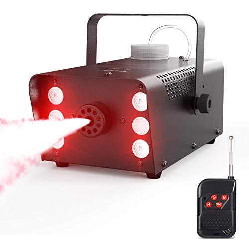 Nebelmaschine, Theefun 7 farbige 6 LEDs 500W Nebelmaschine Tragbare Rauchmaschine mit Kabellos Fernbedienung für Halloween, Party, Weihnachtsgeschenke, Hochzeit