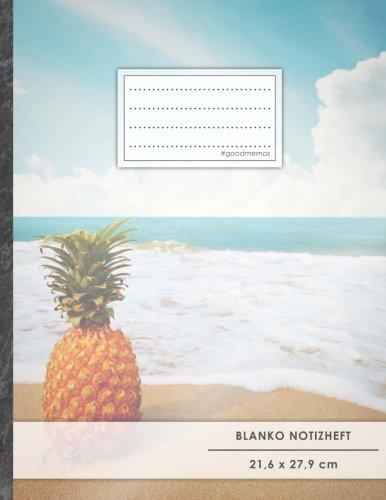 """Blanko Notizbuch • A4-Format, 100+ Seiten, Soft Cover, Register, """"Einsame Ananas"""" • Original #GoodMemos Blank Notebook • Perfekt als Zeichenbuch, Skizzenbuch, Blankobuch, Leeres Tagebuch"""