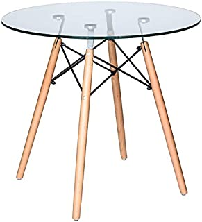 Ivinta Modern Round Glass Dining Table Coffee Table for Living Room Dining Room Kitchen