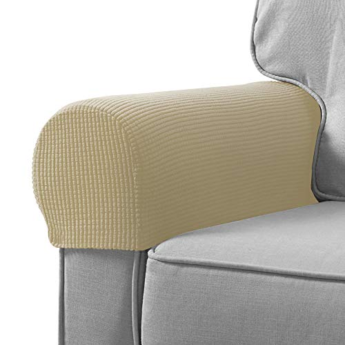 Sofa Armrest Cover Pack of 2,Stretch Armchair Slipcover Furniture Armrest Protector for Sofa Chair Recliner Couch Loveseat (Beige Yellow) -  Qualitell