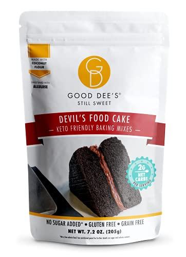 Good Dees Low Carb Baking Mix, Devil's Food Cake Baking Mix, Keto Baking Mix, No Sugar Added, Gluten-Free, Grain-Free, Diabetic, Atkins & WW Friendly (2g Net Carbs, 12 Serving)