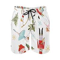 メンズビーチショーツ水彩クリスマス冬くるみ割り人形カジュアルエラスティックウエストドローストリングクイックドライスイムトランクスM