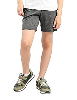 Kady Cotton Drawstring Elastic Waist Side-Pocket Sweat Shorts for Kids - Charcoal, 14 Years