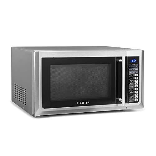 Klarstein Brilliance Pro - Micro-ondes 1500W, Fonction grill 1250W, Chaleur tournante 2150W, Volume 43L, 9 programmes, Écran tactile, env. 20kg, assiette, plaque de cuisson, rouleau, Argent