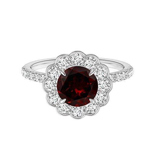 Shine Jewel Estilo Vintage !! 0,75 Ctw Ronda Piedra Preciosa Granate Plata de Ley 925 Solitario apilable Anillo Floral (11)
