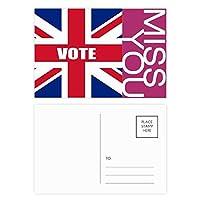 総選挙のための英国の英国国旗の票 ポストカードセットサンクスカード郵送側20個ミス